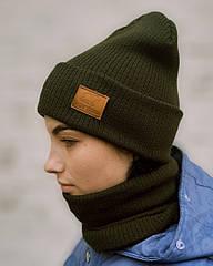 В'язана шапка з хомутом демісезонна КАНТА унісекс розмір дорослий хакі (OC-925)