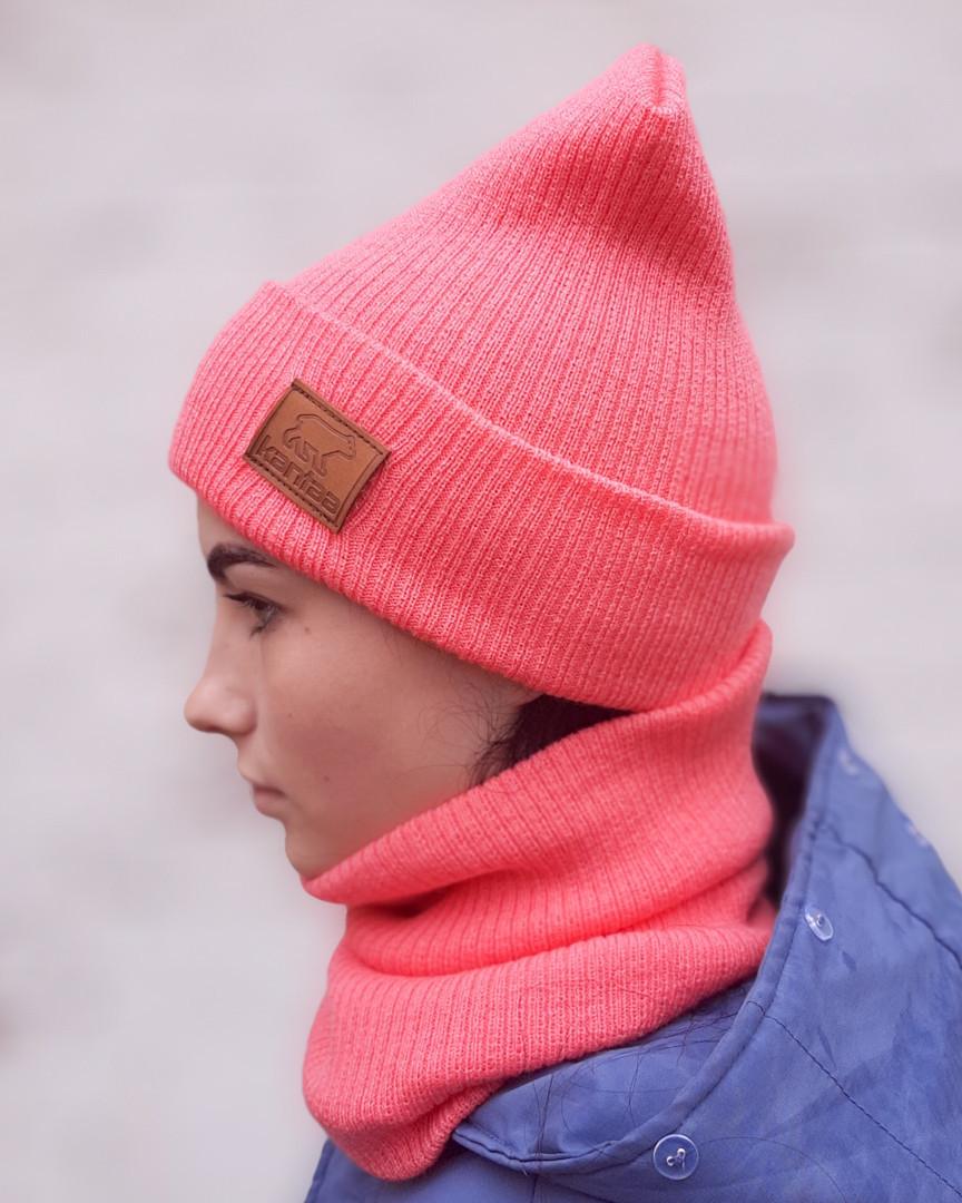 Вязаная шапка с хомутом демисезонная КАНТА унисекс размер взрослый персик (OC-926)