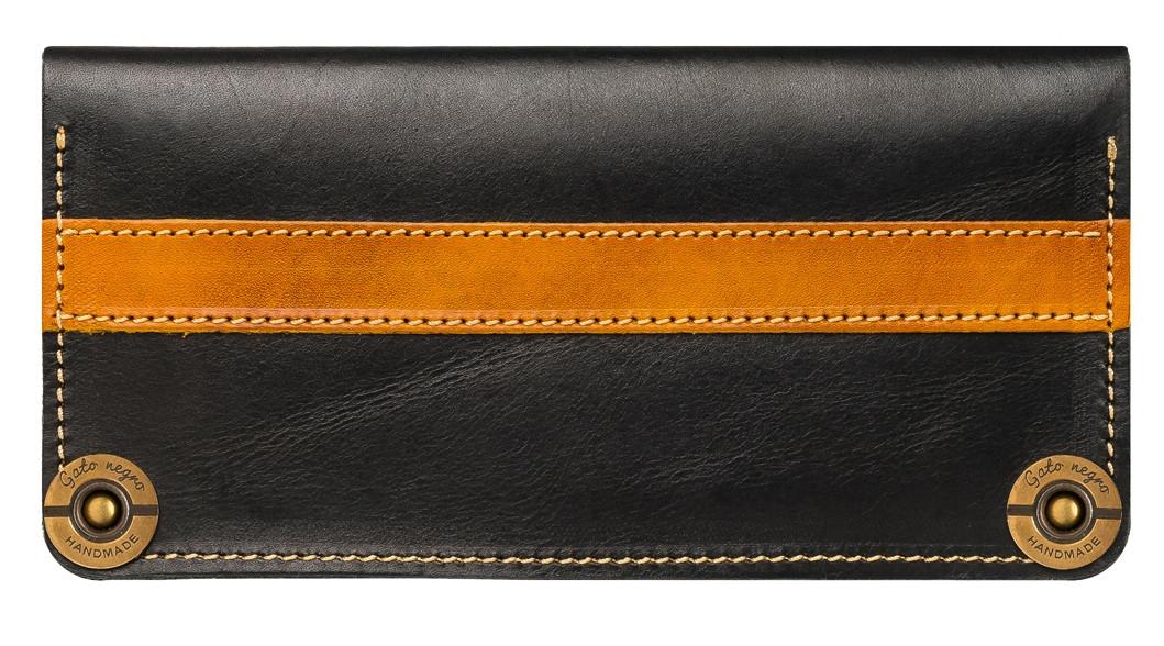 237b63932d4c Кожаный кошелек ручной работы Gato Negro Alfa-P мужской, черный (мужские  кошельки из