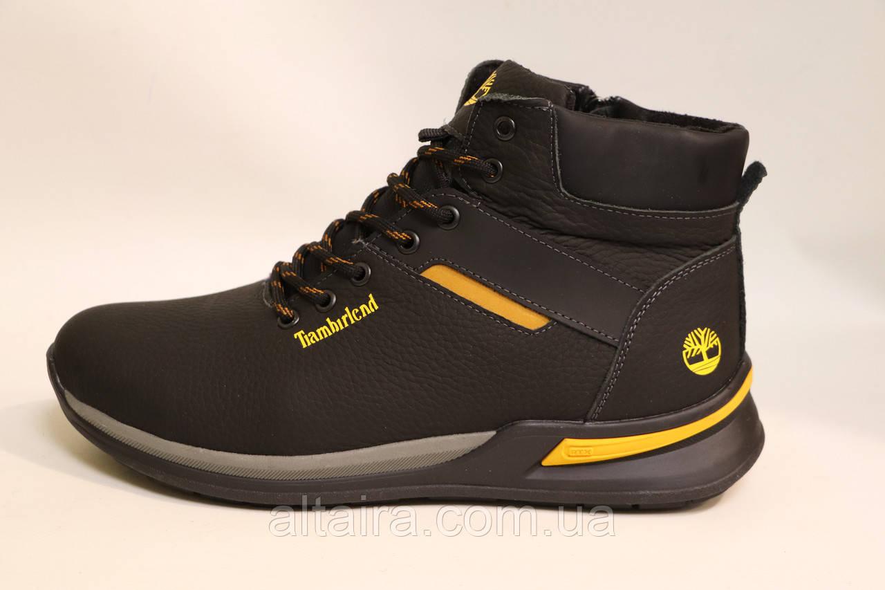Чоловічі зимові шкіряні черевики чорного кольору. Розміри 41-46