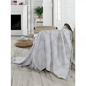 Плед-накидка Eponj Home Buldan Keten - Palmiye 170*220 gri серый