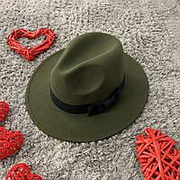 Шляпа Федора унисекс с устойчивыми полями и бантиком зеленая (хаки), фото 1