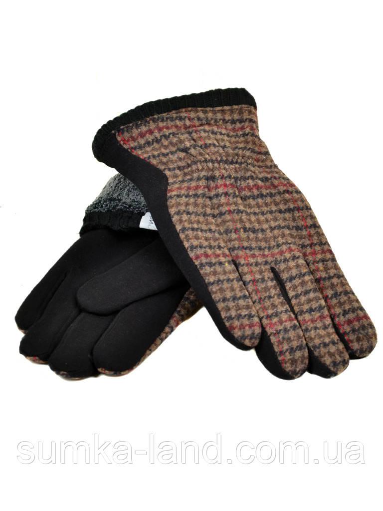 Мужские черные в клетку перчатки стрейч на махровой подкладке