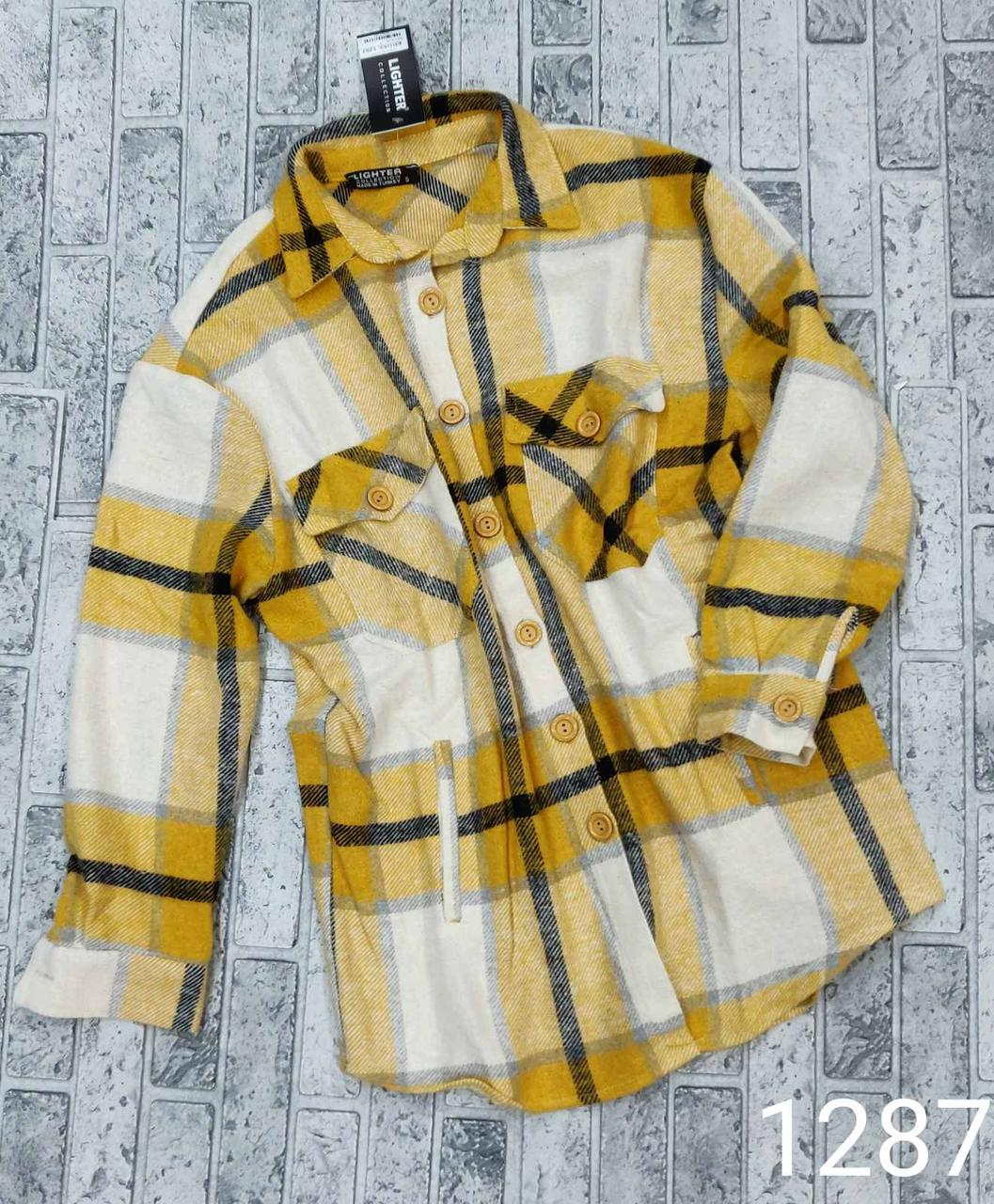 Яркая турецкая женская рубашка в клетку S-L (в расцветках)