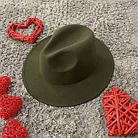 Шляпа Федора унисекс с устойчивыми полями Original зеленая (хаки)