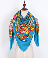 Платок Катерина в народном стиле 145*145 см голубой