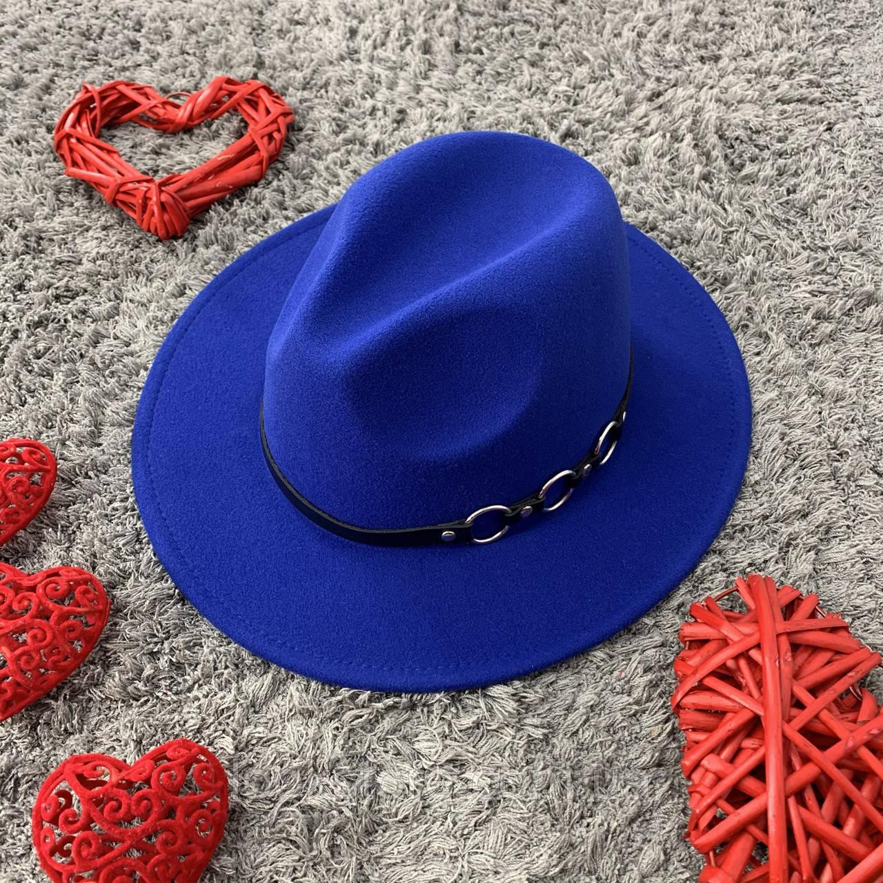 Шляпа Федора унисекс с устойчивыми полями Rings синяя (электрик)