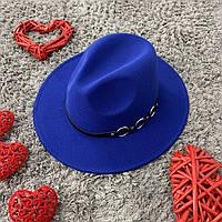 Шляпа Федора унисекс с устойчивыми полями Rings синяя (электрик), фото 1