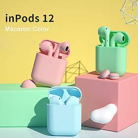 Беспроводные наушники  InPods 12 Macaron Голубые в стиле Apple AirPods сенсорные с кейсом