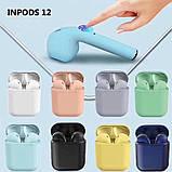 Беспроводные наушники  InPods 12 Macaron Голубые в стиле Apple AirPods сенсорные с кейсом, фото 8