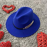 Шляпа Федора унисекс с устойчивыми полями Gold синяя (электрик), фото 1