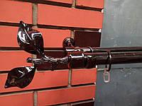 Карниз кованый  двойной  черный никель  25+16  Лист розы -2м