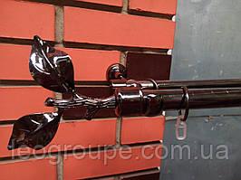 Карниз кованый двойной черный никель 25+16 Лист розы-2м
