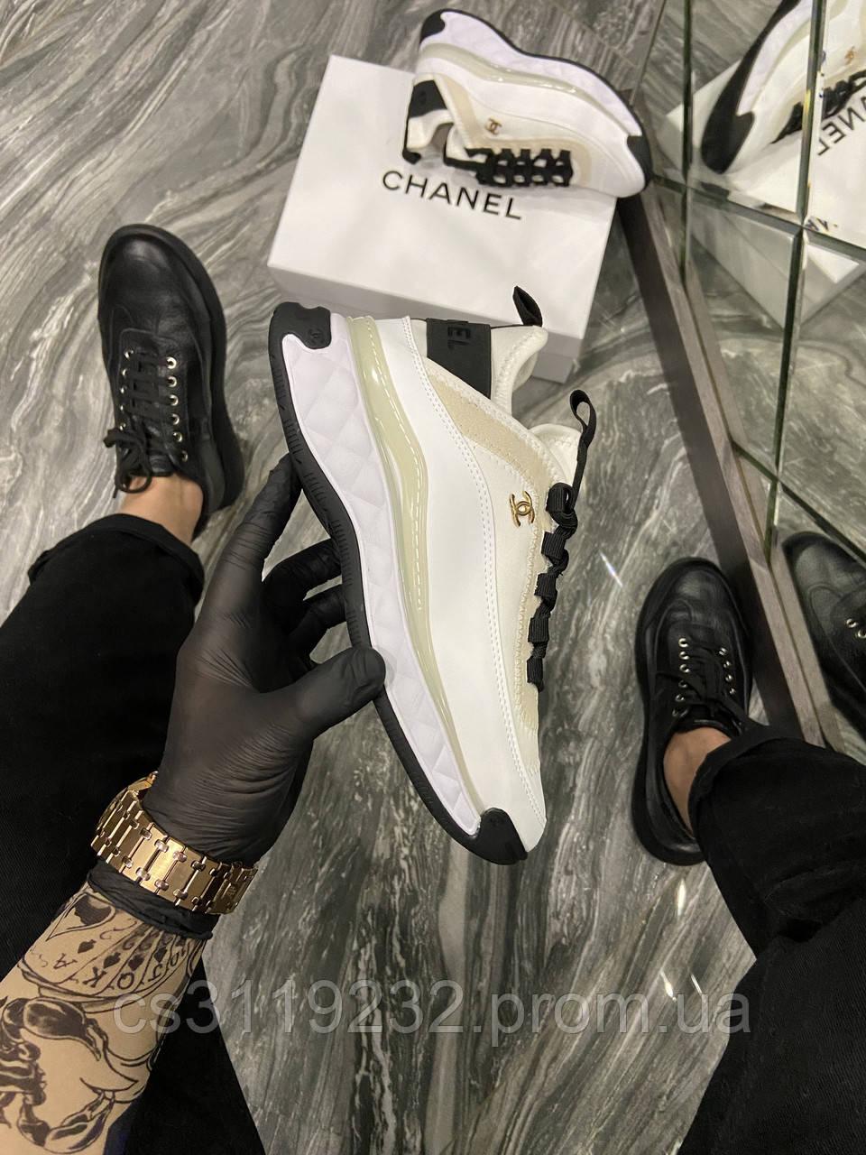 Женские кроссовки Chanel Sneakers White (Белый) Кроссовки Шанель Люкс