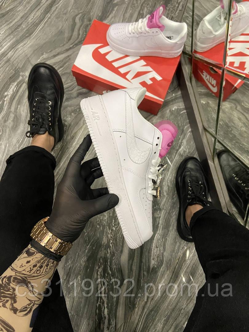 Женские кроссовки Nike Air Force 1 LX White Lace Pink (Белый) Найк Аир Форс