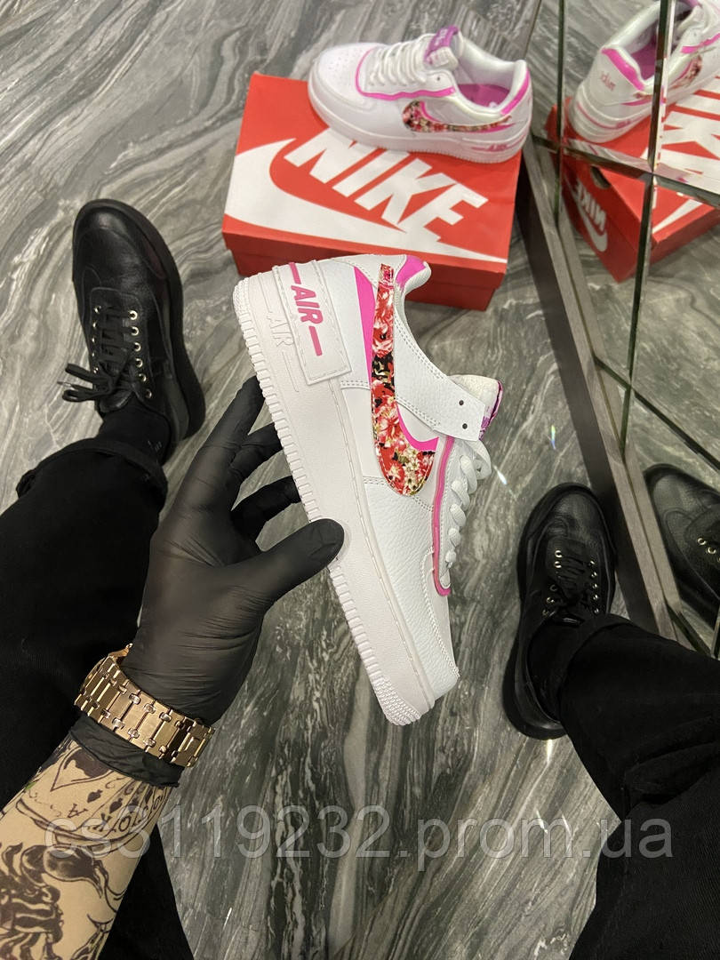 Женские кроссовки Nike Air Force Shadow White Pink Flower (Белый) Найк Аир Форсы белые