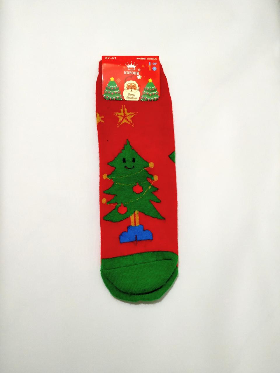 Ангоровые махровые шерстяные носки в стиле Новый Год ёлка размер 37-41