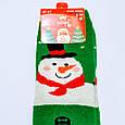 Ангоровые махровые шерстяные носки в стиле Новый Год снеговик размер 37-41, фото 2