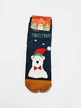Ангорові махрові вовняні шкарпетки в стилі Новий Рік ведмедик розмір 37-41