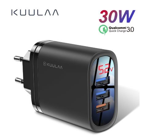 Быстрое зарядное устройство KUULAA QC 3.0 3 USB порта дисплей вольтметр амперметр Цвет Белый