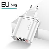 Быстрое зарядное устройство KUULAA QC 3.0 3 USB порта дисплей вольтметр амперметр Цвет Белый, фото 2