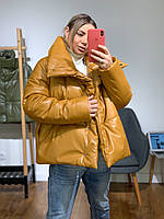 Дутая зимняя куртка - пуховик из экокожи с воротником стойкой в расцветках (р. 42-46) 301522