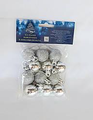Ялинкові кулі 12 штук в упаковці 3 см діаметр срібного кольору