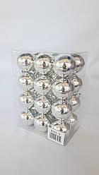Ялинкові кулі 24 штуки в упаковці 5 см діаметр срібного кольору