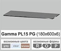 Скляна полиця настінна навісна універсальна прямокутна Commus PL15 PG (180х600х6мм), фото 1