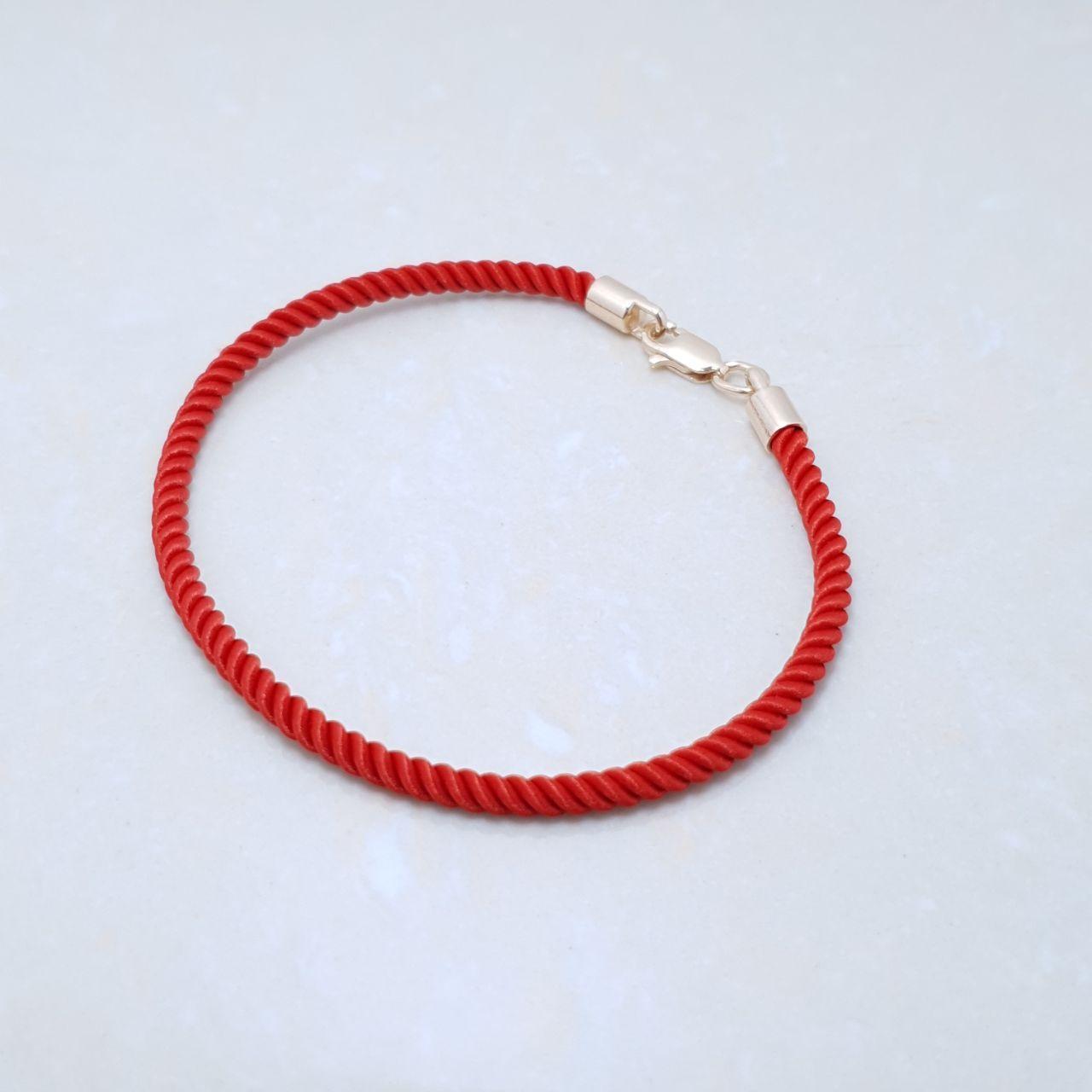 """Браслет-оберег """"Красная нить"""",серебро 925, красное золото, натуральный шелковый плетеный шнур - качество ТОП!!"""