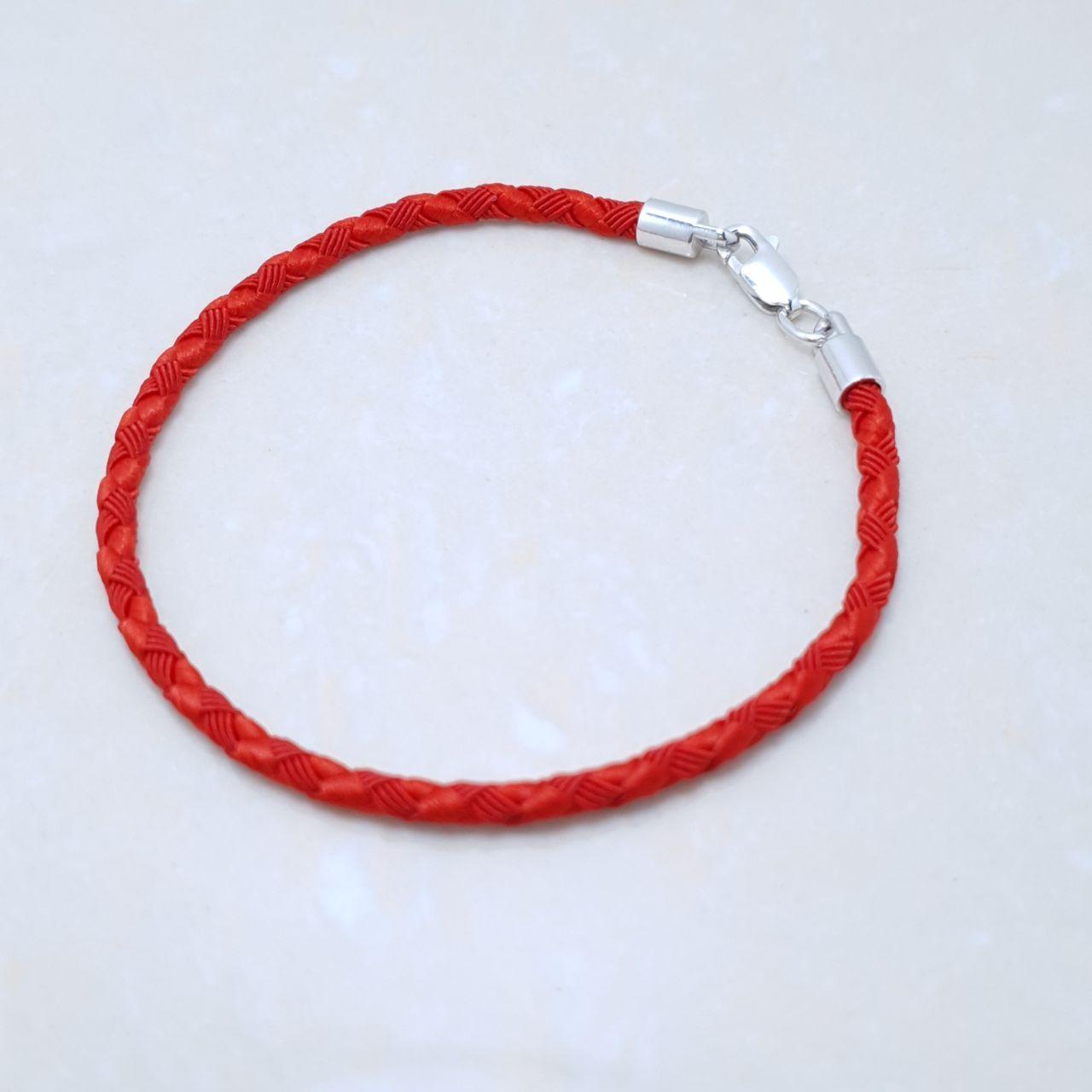 """Браслет-оберег """"Красная нить"""",серебро 925, белый родий, натуральный шелковый плетеный шнур - качество ТОП!!!"""