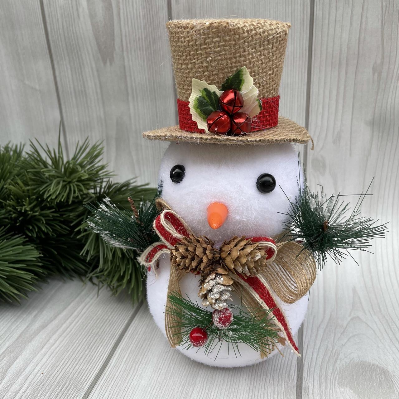 Іграшка новорічна. сніговик в капелюсі 20 см