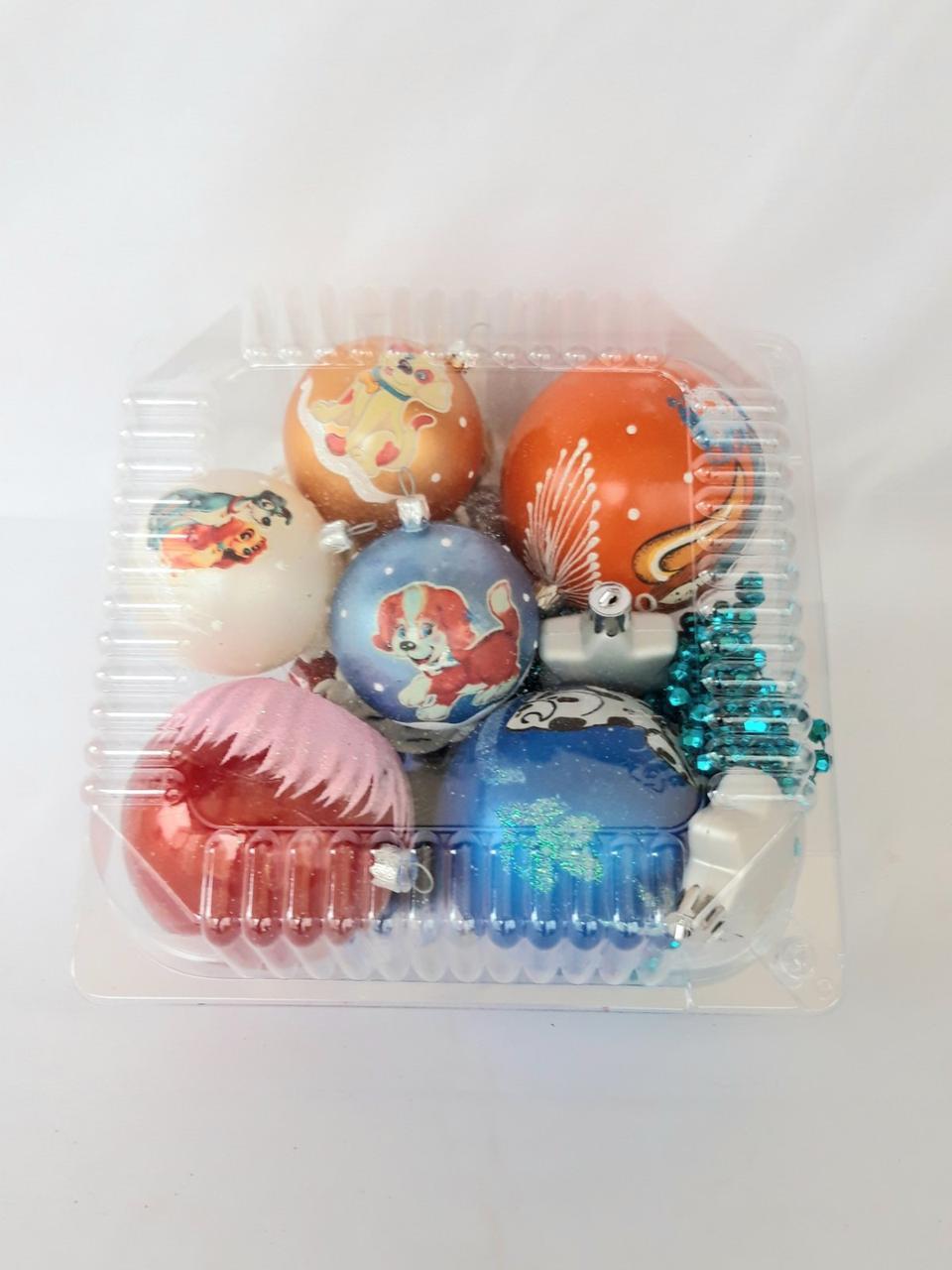 Елочные шары - набор (бусы, шары разного диаметра, снежинки и фигурки)
