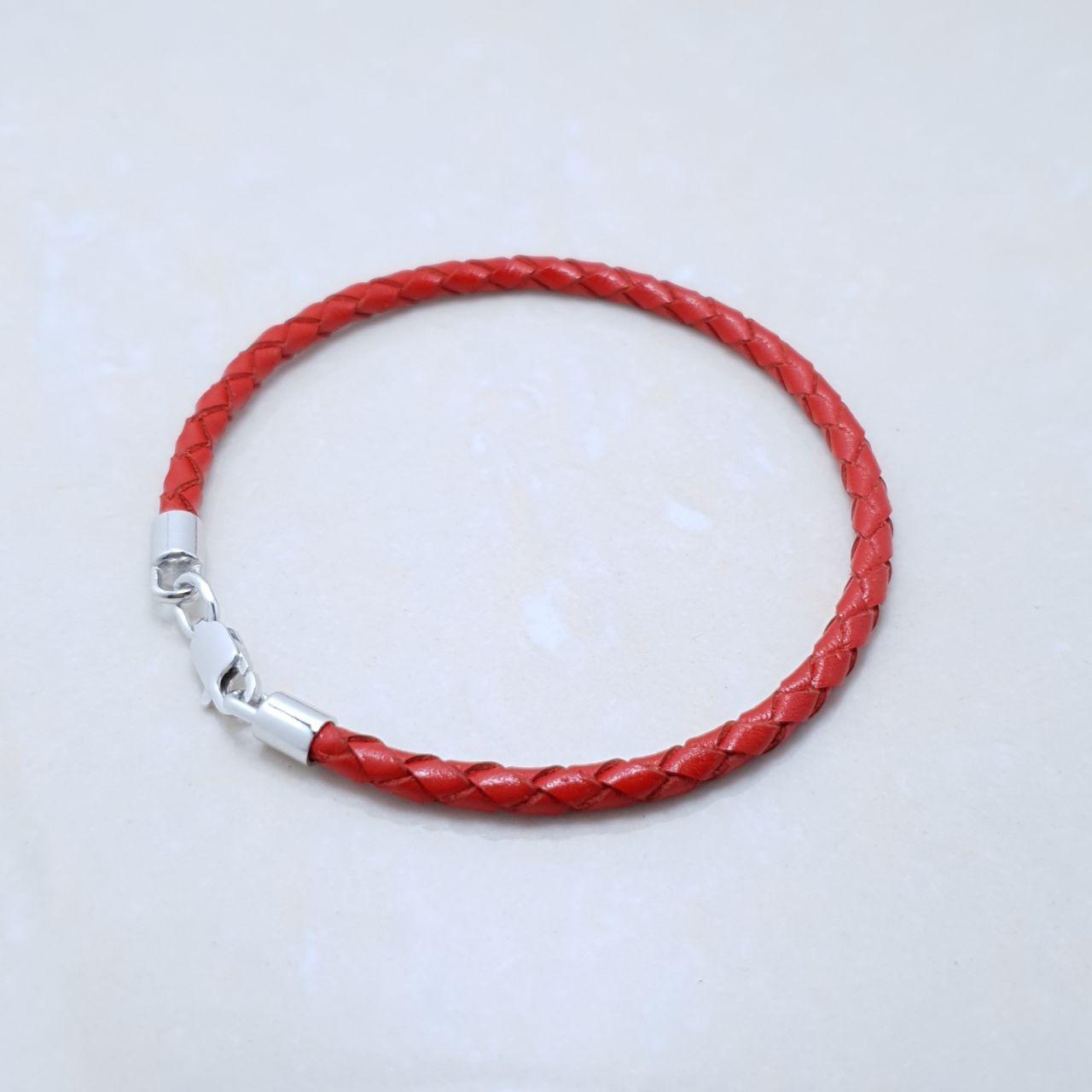 """Браслет-оберег """"Красная нить"""", серебро 925, белый родий, натуральный кожаный плетеный шнур - качество ТОП!!!"""