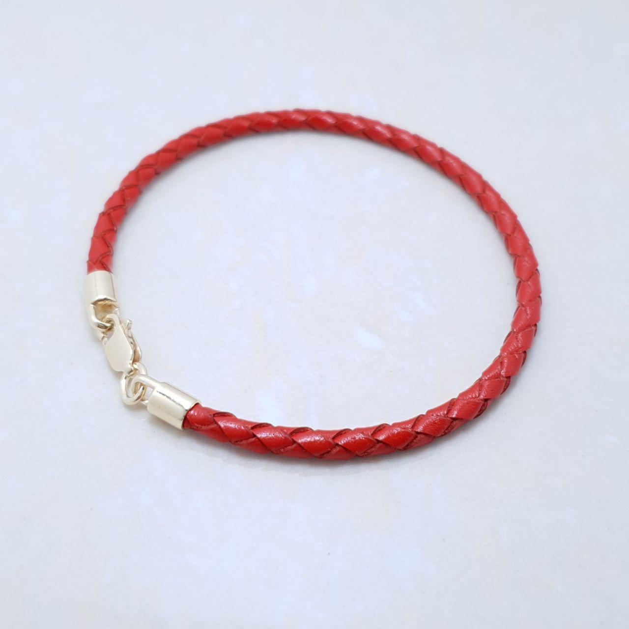 """Браслет-оберег """"Красная нить"""" ,серебро 925, лимонное золото натуральный кожаный плетеный шнур - качество ТОП!"""