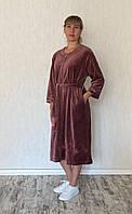 Велюровый халат женский элегантная пудра, фото 1