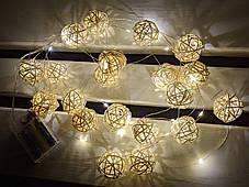 Гирлянда для декора 4м ротанговые шары на проволке роса ЕКО, тёплый свет, фото 3