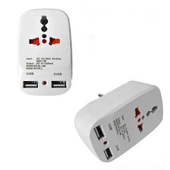 Сетевой тройник 2 USB Travel Adaptor 823