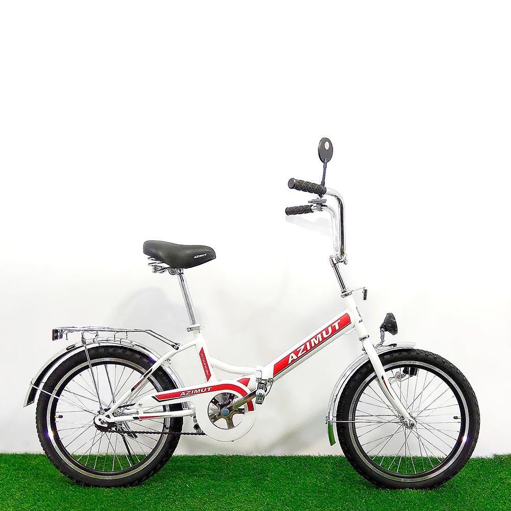 Складной велосипед Azimut 20 2009-1 с фарой бело-красный