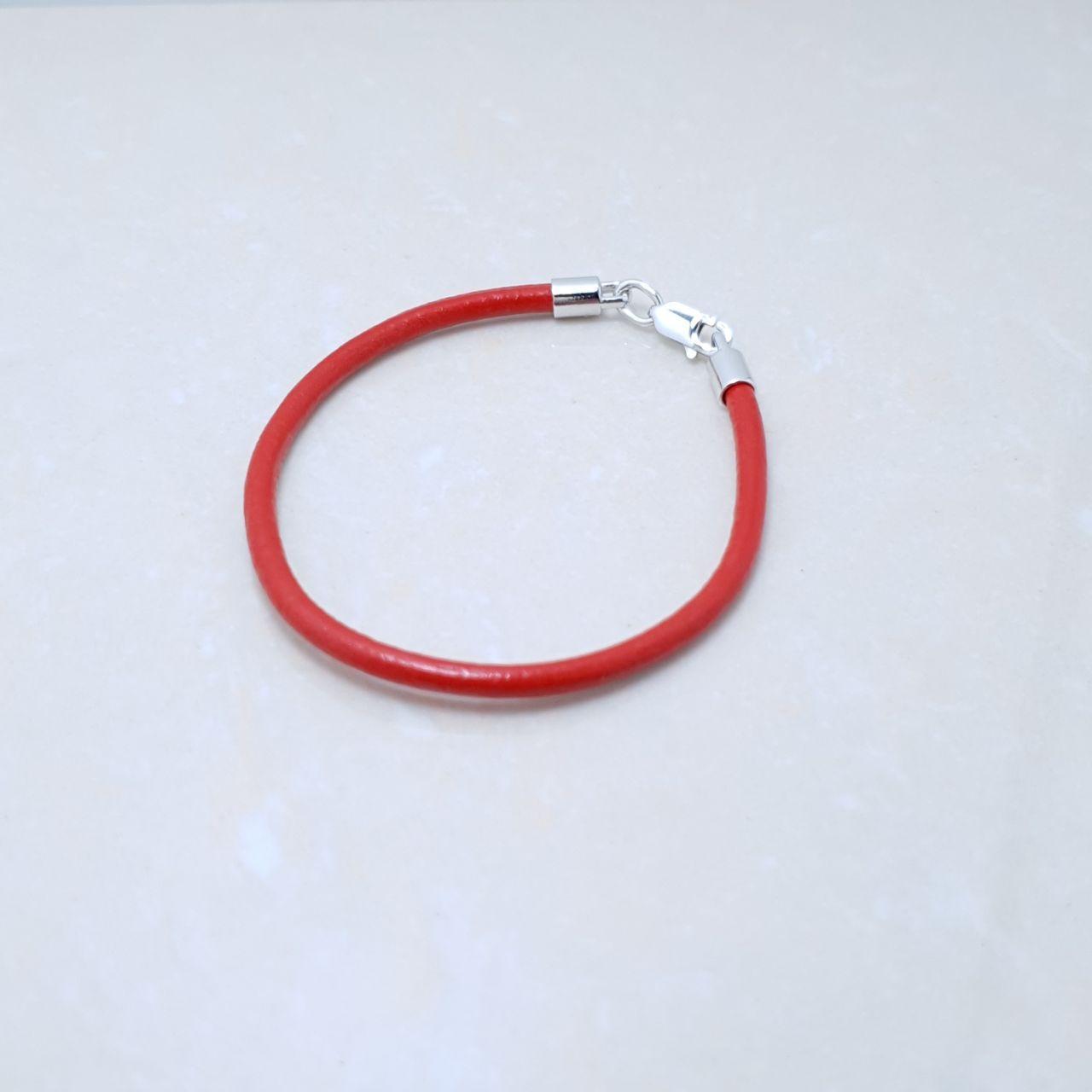 """Браслет-оберег """"Красная нить"""", серебро 925, белый родий, натуральный кожаный гладкий шнур - качество ТОП!!!"""