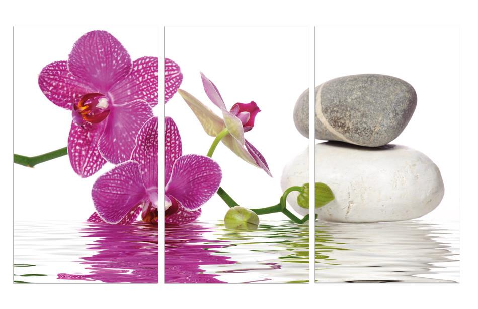 """Модульная картина на стекле """"Орхидея в воде"""""""
