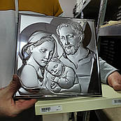 Икона серебряная Святое Семейство Мария и Иосиф с младенцем
