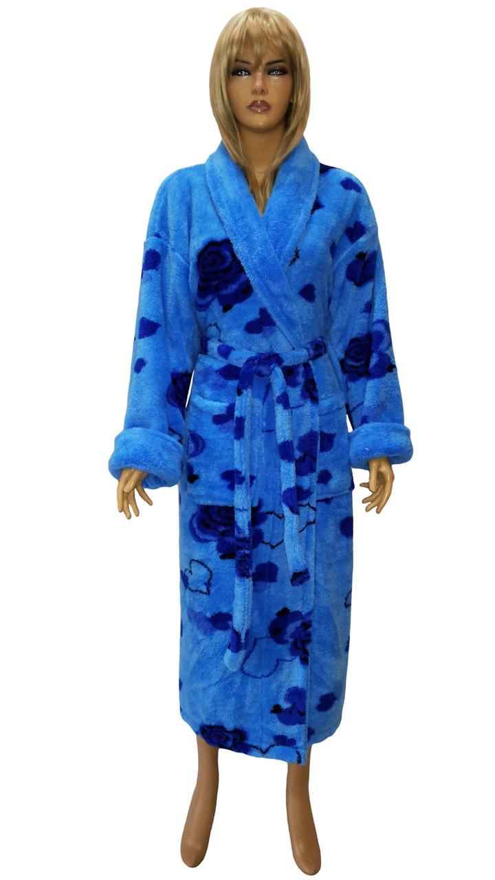 Халат пушистый цветной (женский) Massimo Monelli