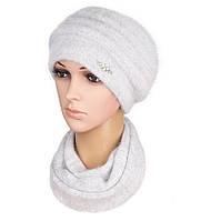 Комплект шапка и шарф вязаный женский Darina ангора серого  цвета