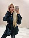Шкіряна жіноча сукня сорочка чорна з поясом, фото 3