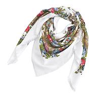 Платок Катерина в народном стиле 145*145 см белый