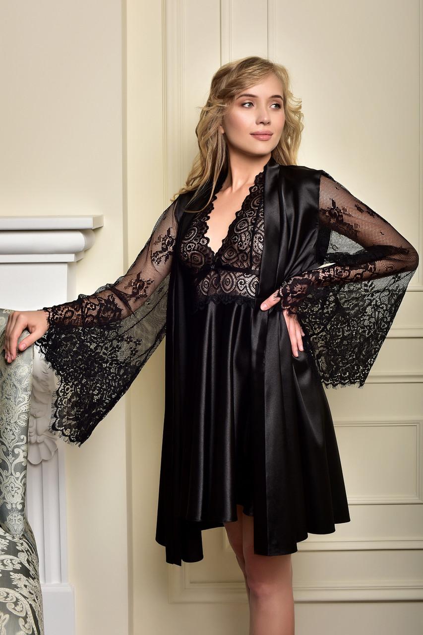 Атласный комплект короткий пеньюар и халат с кружевным рукавом черный Одри