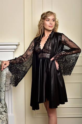 Атласный комплект короткий пеньюар и халат с кружевным рукавом черный Одри, фото 2