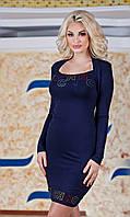 Д2586 Платье размеры 48-54  Синий