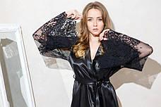 Атласный комплект короткий пеньюар и халат с кружевным рукавом черный Одри, фото 3